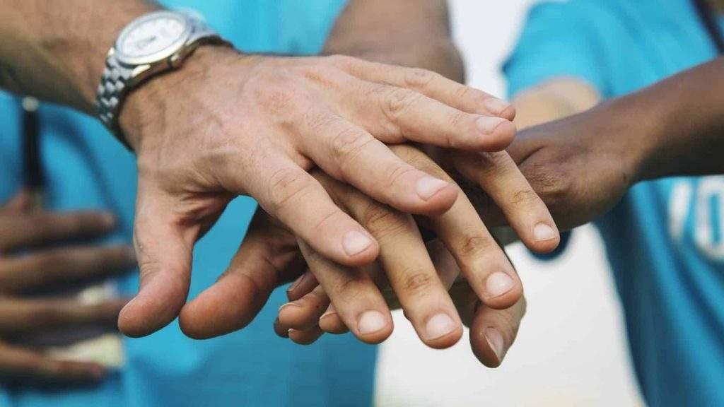 Holding Hands Celebrating
