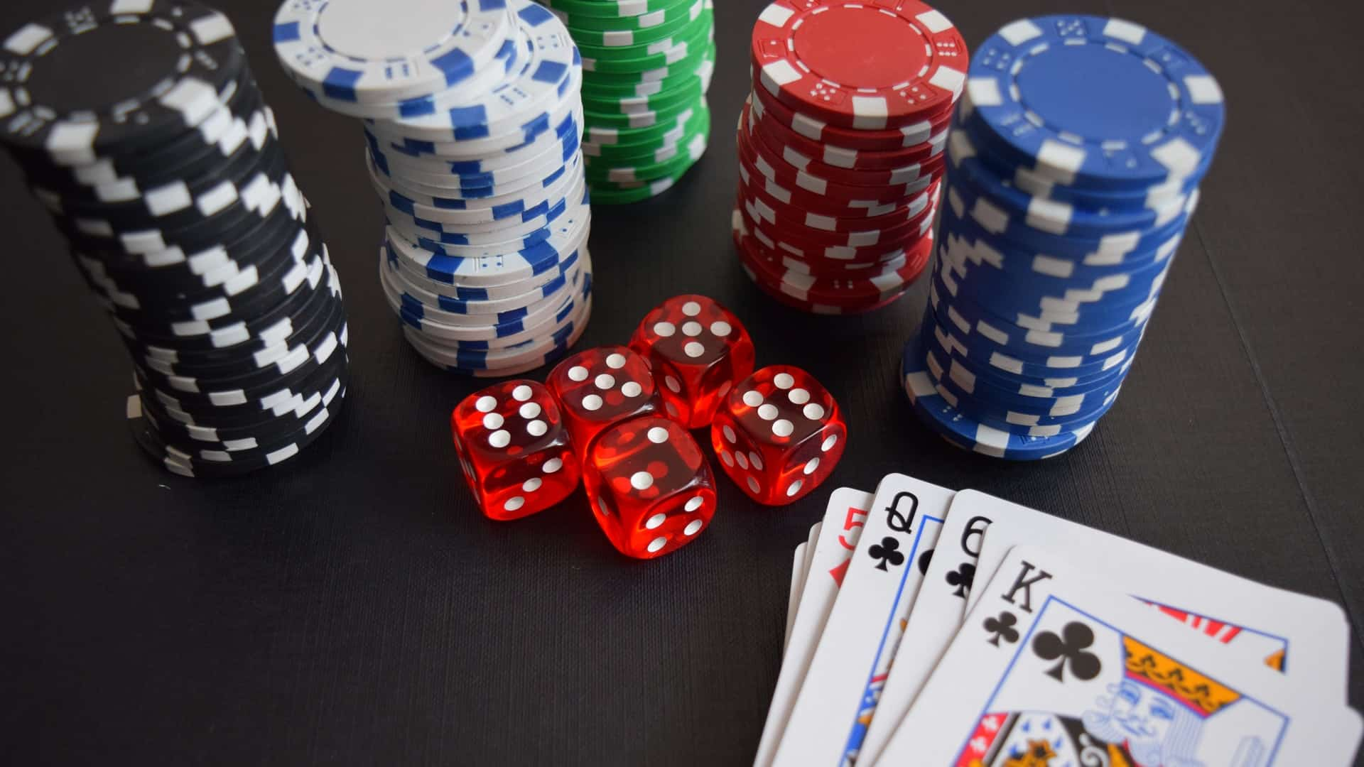 Poker Chips, Cards and Dice